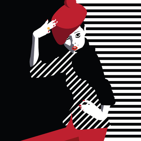 vector art: Fashion teenage girl in style pop art. Vector illustration