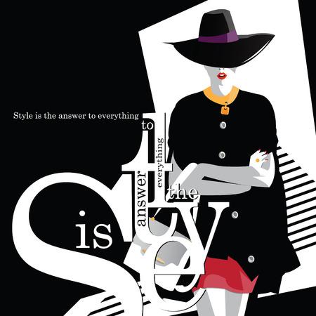 Cita de la moda con la mujer de la moda. ilustración vectorial Foto de archivo - 67893758