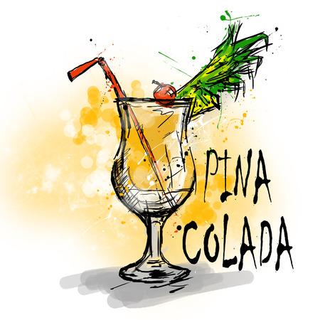 colada: Hand drawn illustration of cocktail. PINA COLADA