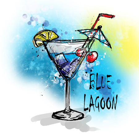 blue lagoon: Hand drawn illustration of cocktail. BLUE LAGOON