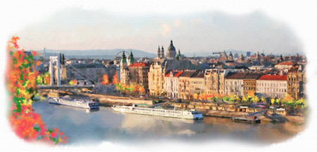 romantic: View of Budapest made in artistic watercolor style