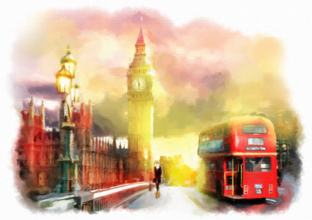 Watercolor hand drawn colorful illustration of London city view.