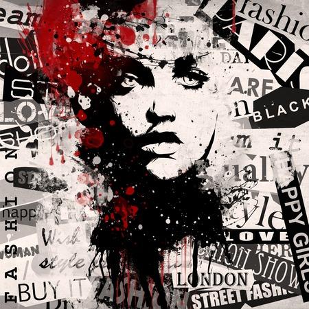 sexy brunette woman: Fashion woman on grunge background. Grunge style. Modern generation.