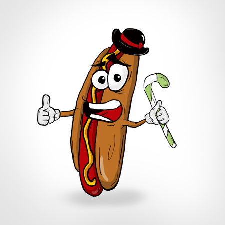 Hot Dog Thumbs Up Cartoon Character. Funny illustration.