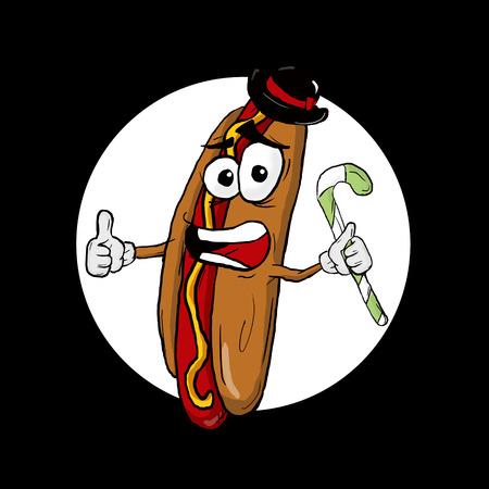 ballpark: Hot Dog Thumbs Up Cartoon Character. Funny illustration.