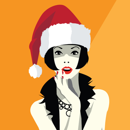 Beautiful woman face in the hat of Santa Claus. Illustration for Christmas and New Year. Illustration