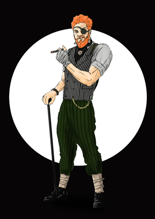 beard man: Illustration of the Irish who holds a cigar in hand