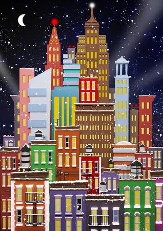 new york: Winter in New York. New Years card
