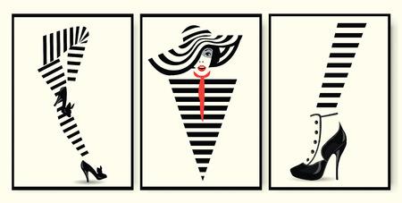 Fashion woman, shoe and legs in style pop art Vector illustration Vektorové ilustrace