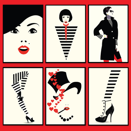 Fashion woman, shoe and legs in style pop art