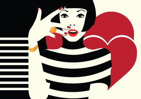 Mode vrouw in stijl van pop art. vector illustratie Stock Illustratie