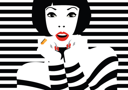 Fashion woman in style pop art.