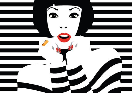 moda ropa: mujer de moda en el arte pop estilo. Vectores
