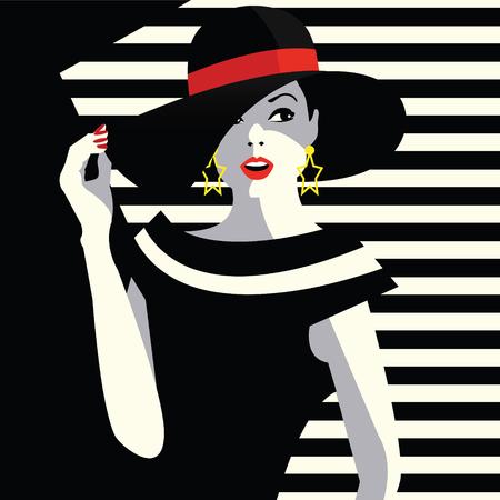 Mode vrouw in stijl van pop art.