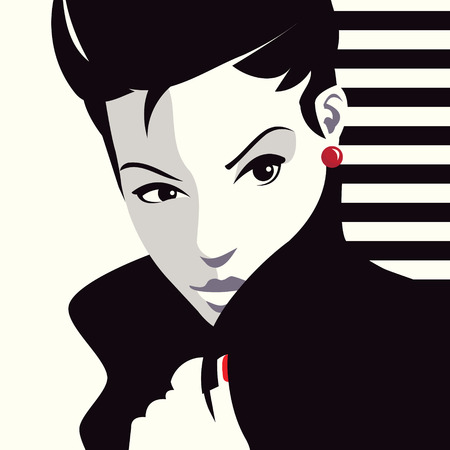 girl in a hat: The fashionable woman. Pop art illustration.