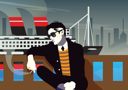 playboy: Fashionable man with a cigarette. Pop art illustration. Illustration
