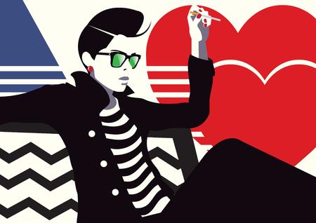 La mujer de moda con un cigarrillo. Ilustración del arte pop.