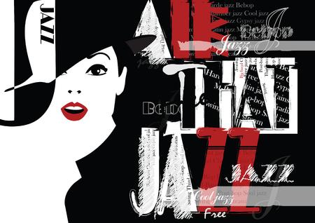 Festival de jazz. Rétrossez une affiche avec la fille élégante. Illustration Vecteur