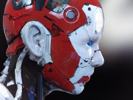 futurist: The head of a cyborg on a black background. Stock Photo