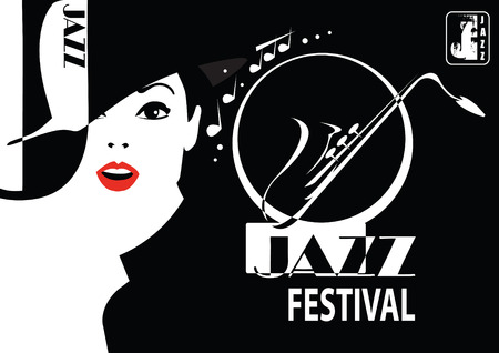 classic classical: Jazz festival. Retro a poster with the stylish girl.
