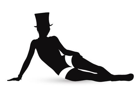 Silhouette eines Mädchens im Kabarettstil. Standard-Bild - 74787942