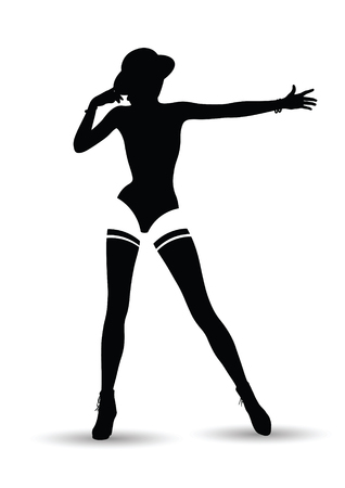 Erotic silhouette of the girl in style of cabaret.