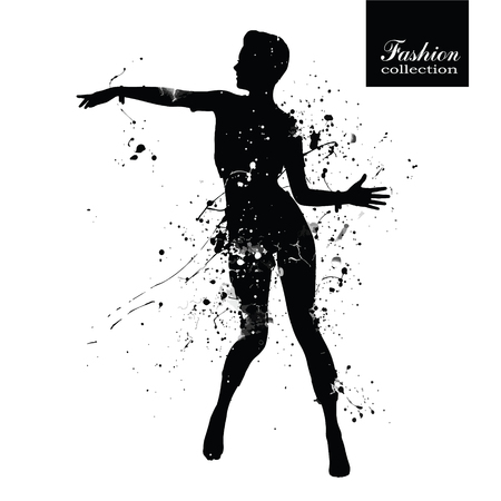 Silhouette of the fashionable woman with paint splashes.