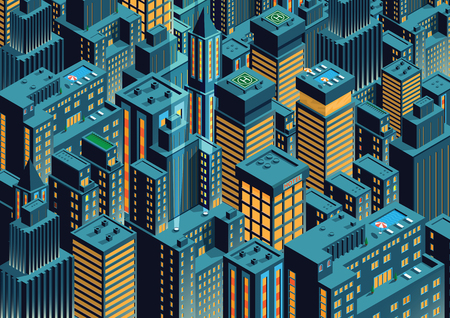 Night New York. Isometric perspective. Cartoon Style.