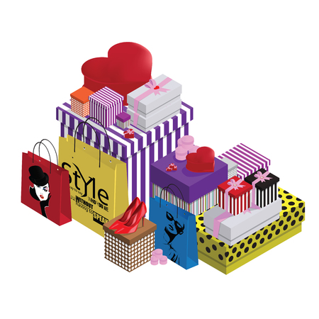 gift paper: Colorful gift boxes and paper bags.