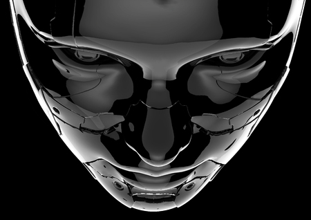 The head of a cyborg on a black background. Stock Photo