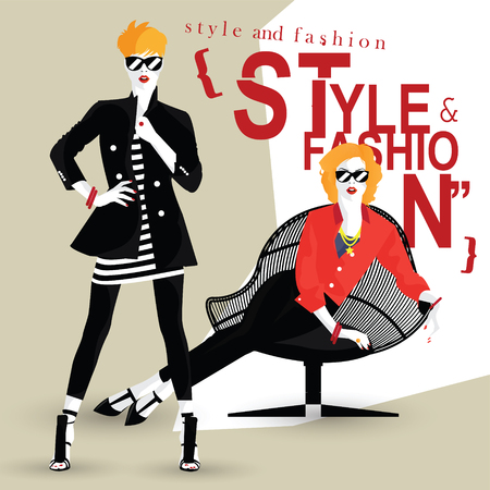 The fashionable girl in style pop art