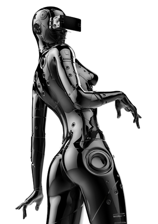 3D illustration. The stylish chromeplated cyborg the woman. Futuristic fashion android.