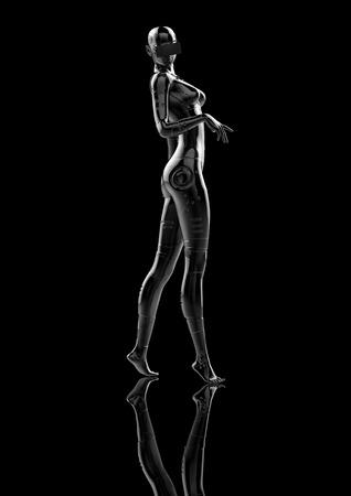 cybernetics: The stylish chromeplated cyborg the woman. 3d illustration.