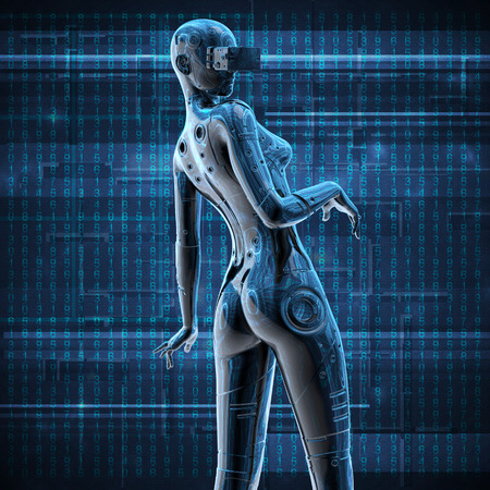 futurist: The stylish chromeplated cyborg the woman. 3d illustration.