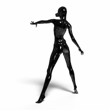cyber woman: The head of a cyborg on a black background. 3d illustration. Stock Photo
