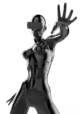 La cabeza de un cyborg en un fondo negro. Ilustración 3d.