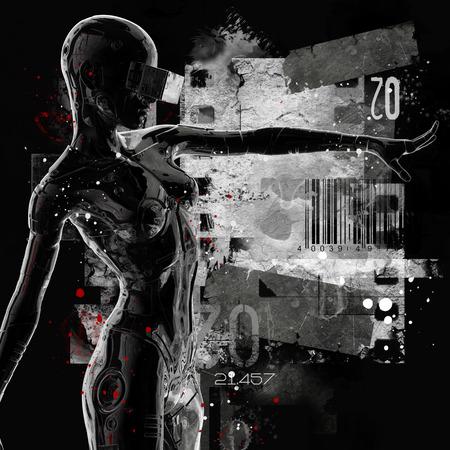 La cabeza de un cyborg sobre un fondo negro. Ilustración 3d Foto de archivo