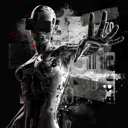 cybernetics: The head of a cyborg on a black background. 3d illustration. Stock Photo