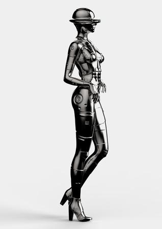 cybernetics: 3D illustration. The stylish chromeplated cyborg the woman.