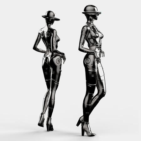3D illustration. Two the stylish cyborg the woman.