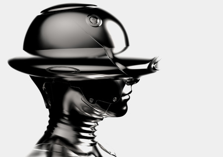 3D illustration. The stylish chromeplated cyborg the woman.