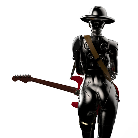 3D 그림입니다. 멋진 사이보그 여자. 스톡 콘텐츠 - 81201488