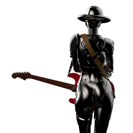 3D illustratie. De stijlvolle cyborg de vrouw.
