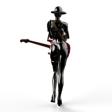 cyber woman: 3D illustration. The stylish cyborg the woman.