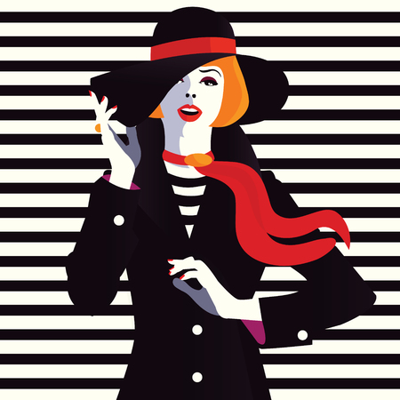 The fashionable girl in a hat. Pop art illustration