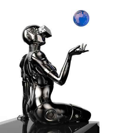 cybernetics: 3D illustration. The stylish cyborg the woman.