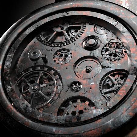rackwheel: Rusty mechanism in the old clock Stock Photo