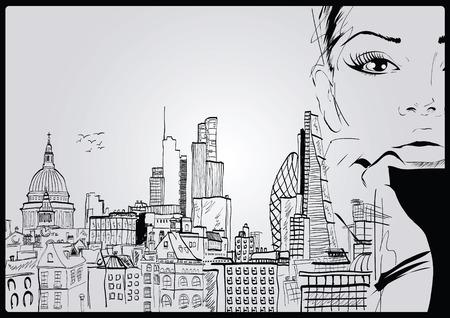 Fashion sketch girl in london. Vector illustration
