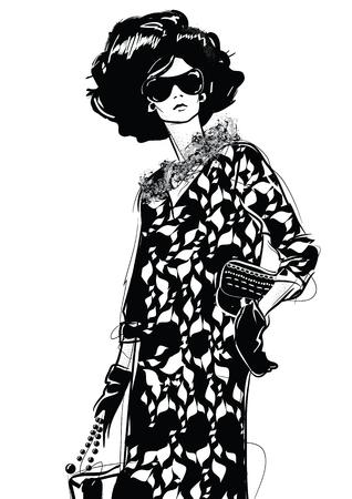 Graphic drawing sketch with woman. Ilustração