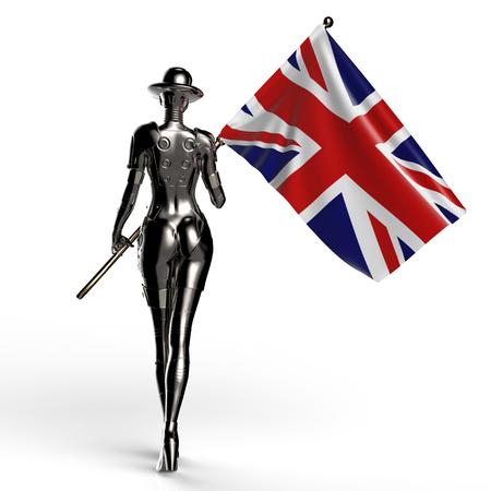 3D illustration. The stylish cyborg the woman.